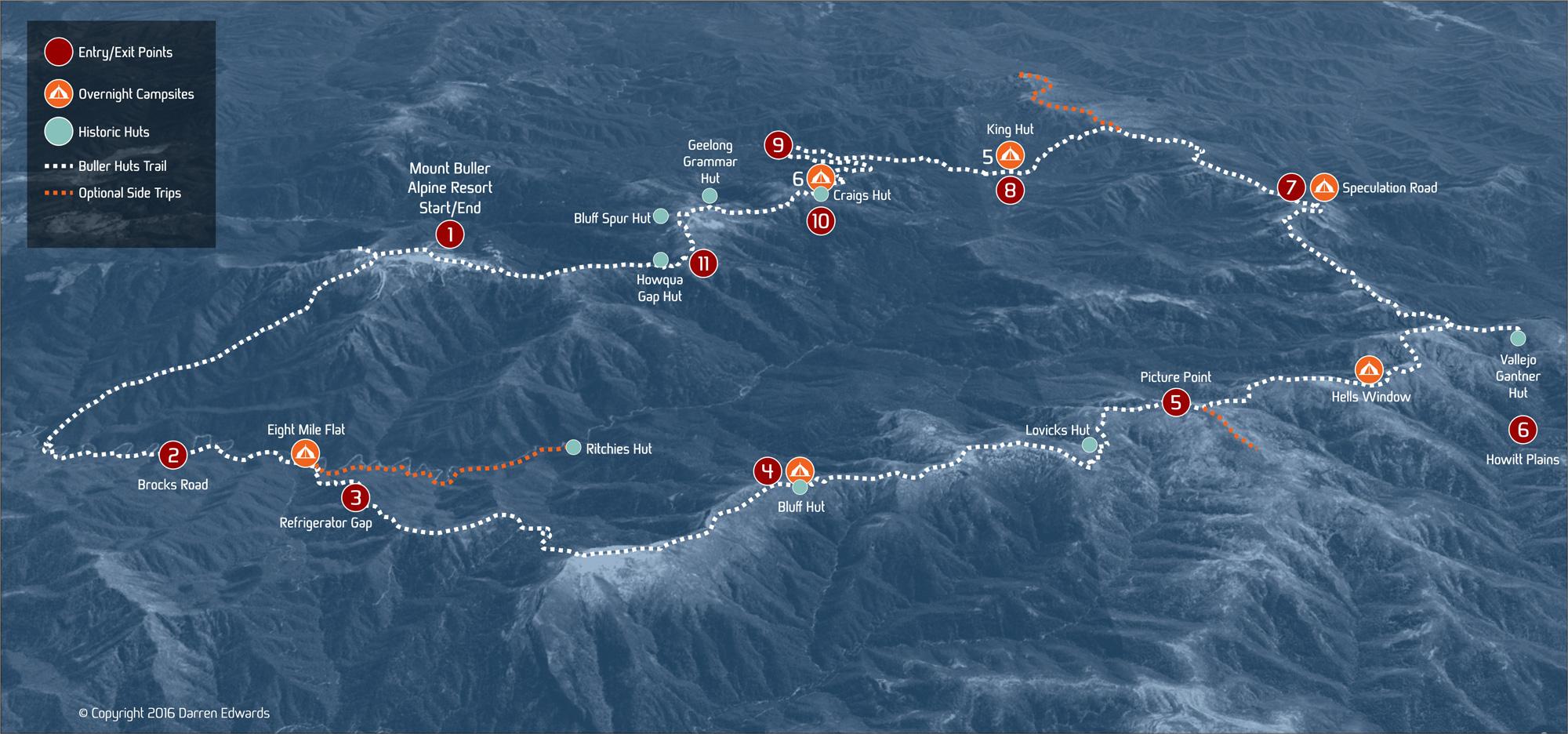 Buller Huts Trail Trek Exit Map